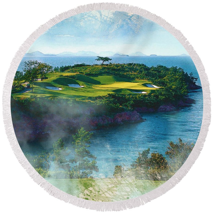 Decoration Round Beach Towel featuring the digital art The Pine And Beach Links by Don Kuing