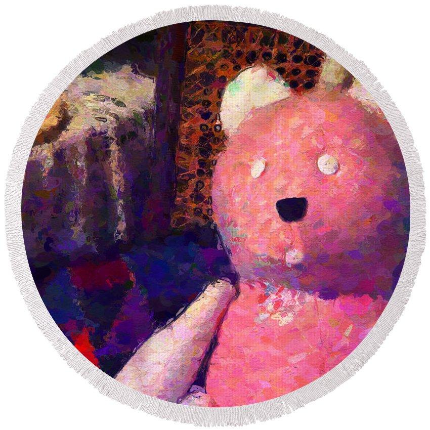 Teddy Bear Round Beach Towel featuring the digital art The Pink Bear by David Derr