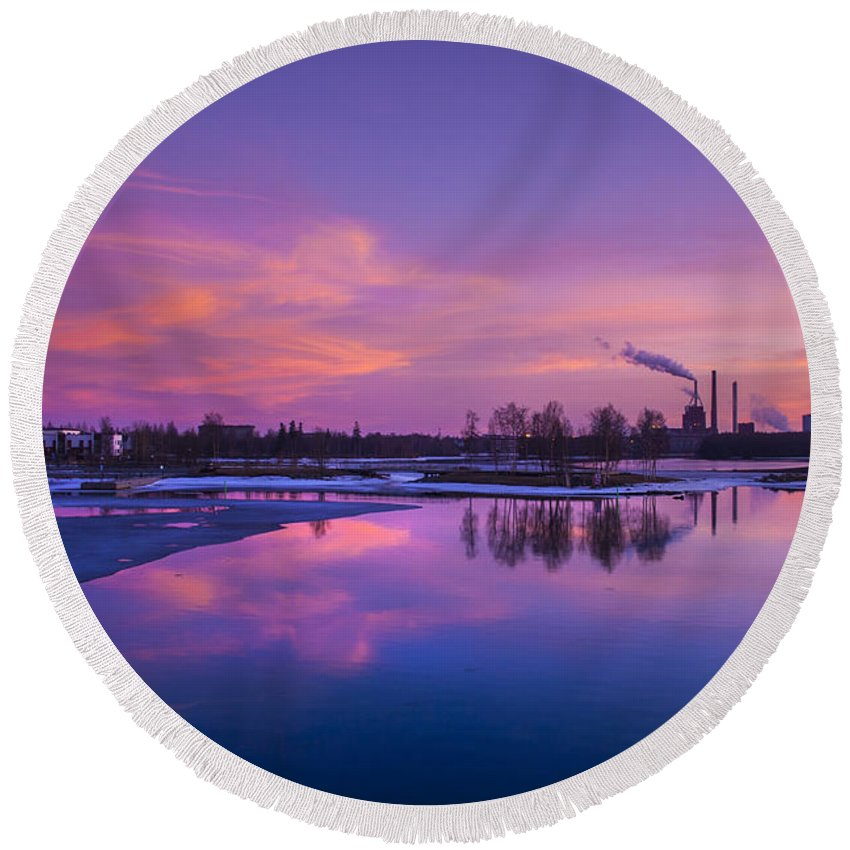 Beautiful Round Beach Towel featuring the photograph The Pink Cloud Factory by Sandra Rugina
