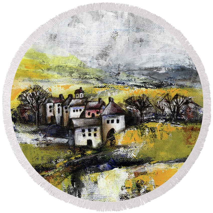 Landscape Round Beach Towel featuring the painting The Pink House by Aniko Hencz