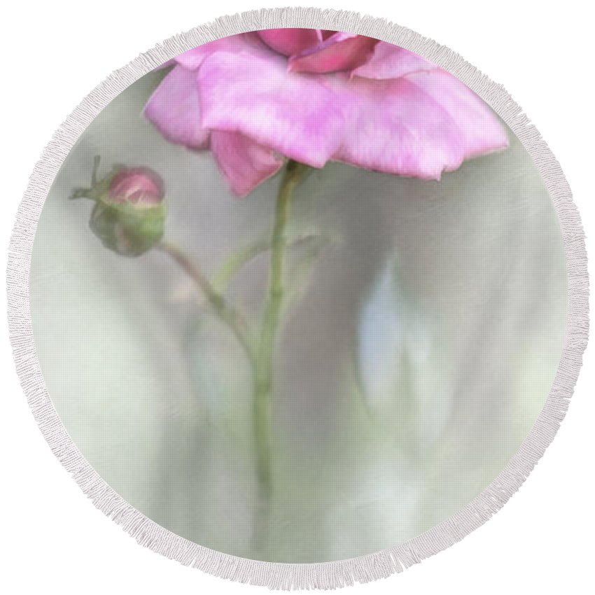 Bloom Round Beach Towel featuring the photograph The Pink Rose by David and Carol Kelly