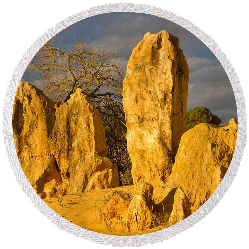 Travel Round Beach Towel featuring the photograph The Pinnacles Nambung National Park Australia by Louise Heusinkveld