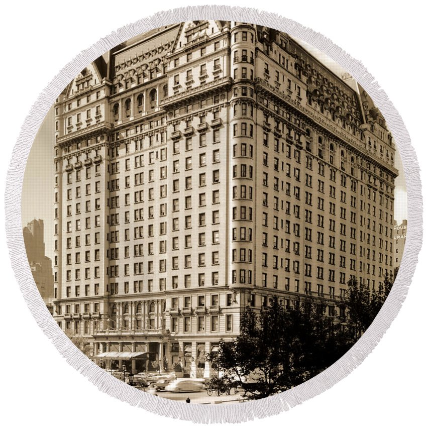 The Plaza Hotel Round Beach Towel featuring the photograph The Plaza Hotel by Henry Janeway Hardenbergh