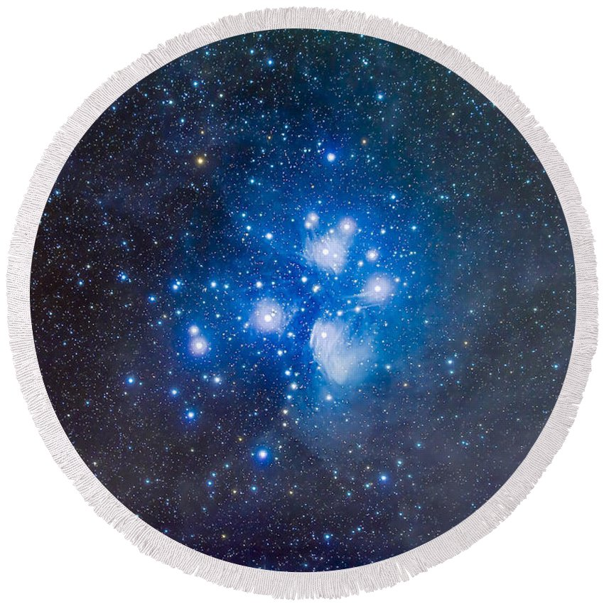 Alcyone Round Beach Towel featuring the photograph The Pleiades, Also Known As The Seven by Alan Dyer
