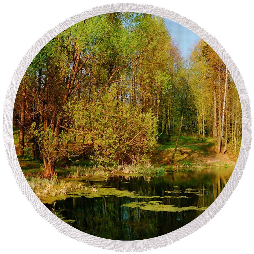 Moscow Region Round Beach Towel featuring the photograph The Pond In The Spring by Yuri Hope