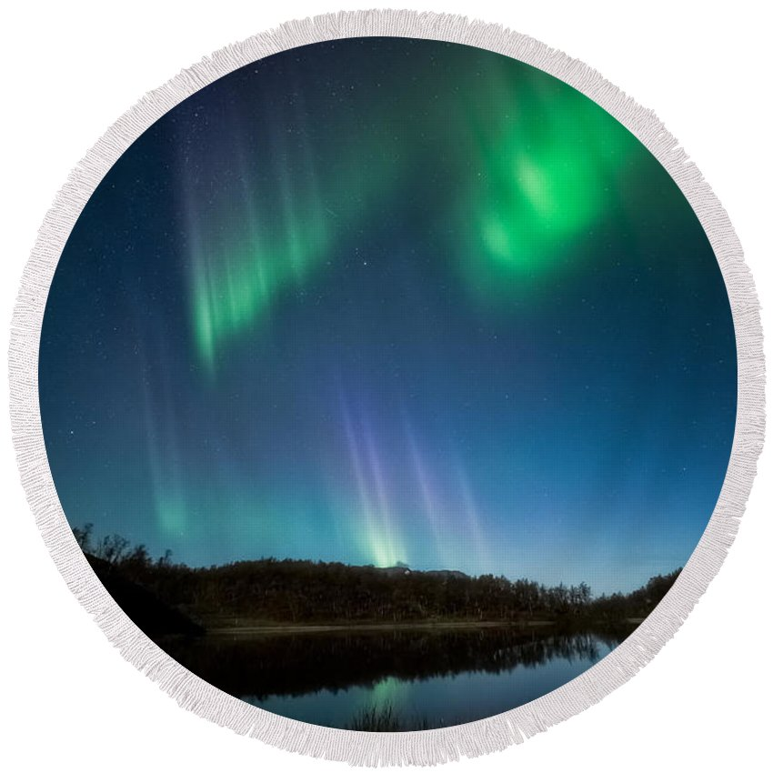 Beautiful Round Beach Towel featuring the photograph The Pond by Tor-Ivar Naess