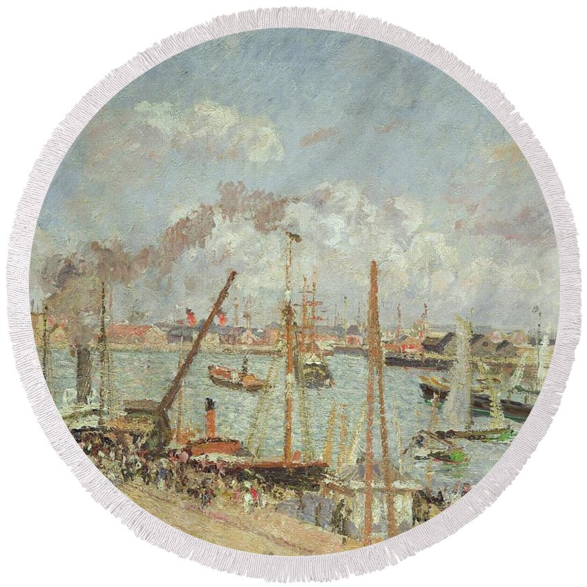 The Round Beach Towel featuring the painting The Port Of Le Havre In The Afternoon Sun by Camille Pissarro