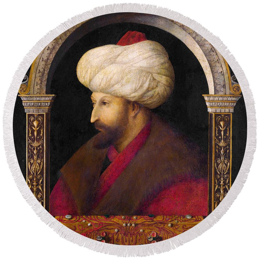 15th Century Painters Round Beach Towel featuring the painting The Portrait Of Ottoman Sultan Mehmed The Conqueror by Gentile Bellini