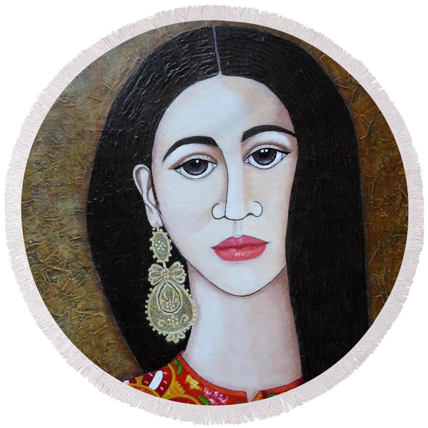 Woman Round Beach Towel featuring the painting The Portuguese Earring 2 by Madalena Lobao-Tello