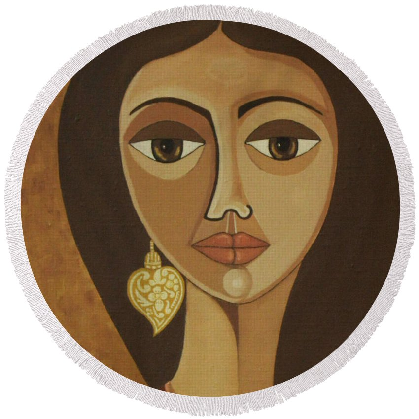 Portuguese Round Beach Towel featuring the painting The Portuguese Earring by Madalena Lobao-Tello