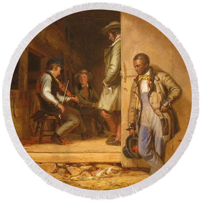 William Sidney Mount Round Beach Towel featuring the painting The Power Of Music, 1847 by William Sidney Mount
