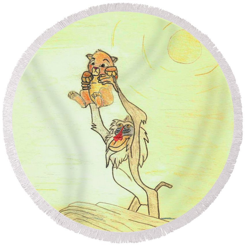 Pencil Round Beach Towel featuring the drawing The Presentation Of Simba From Walt Disney's The Lion King by Eric Strickland