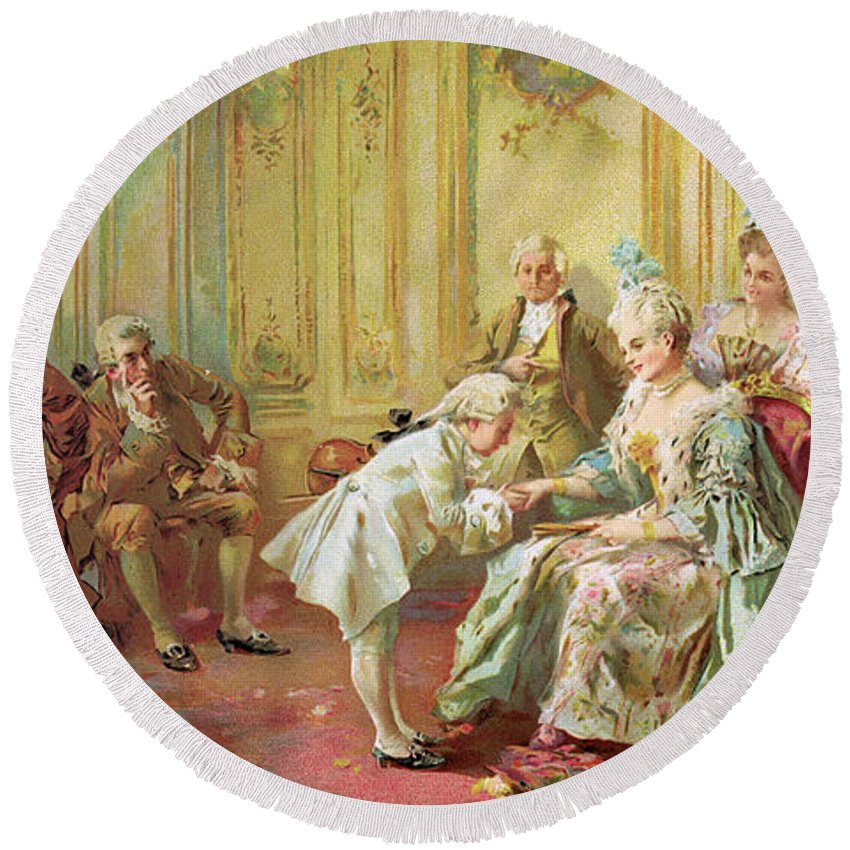 The Presentation Of The Young Mozart To Mme De Pompadour At Versailles In 1763 (colour Litho)wolfgang Amadeus Mozart (1756-91); Composer; Child Prodigy; Mozart Round Beach Towel featuring the painting The Presentation Of The Young Mozart To Mme De Pompadour At Versailles by Vicente de Parades