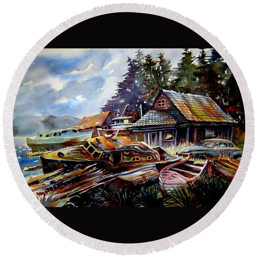 Boats Round Beach Towel featuring the painting The Preserve Of Captain Flood by Ron Morrison