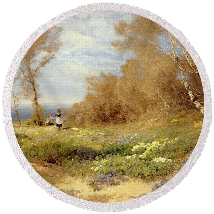 The Primrose Gatherers (oil On Canvas) By John Clayton Adams (1840-1906) Round Beach Towel featuring the painting The Primrose Gatherers by John Clayton Adams