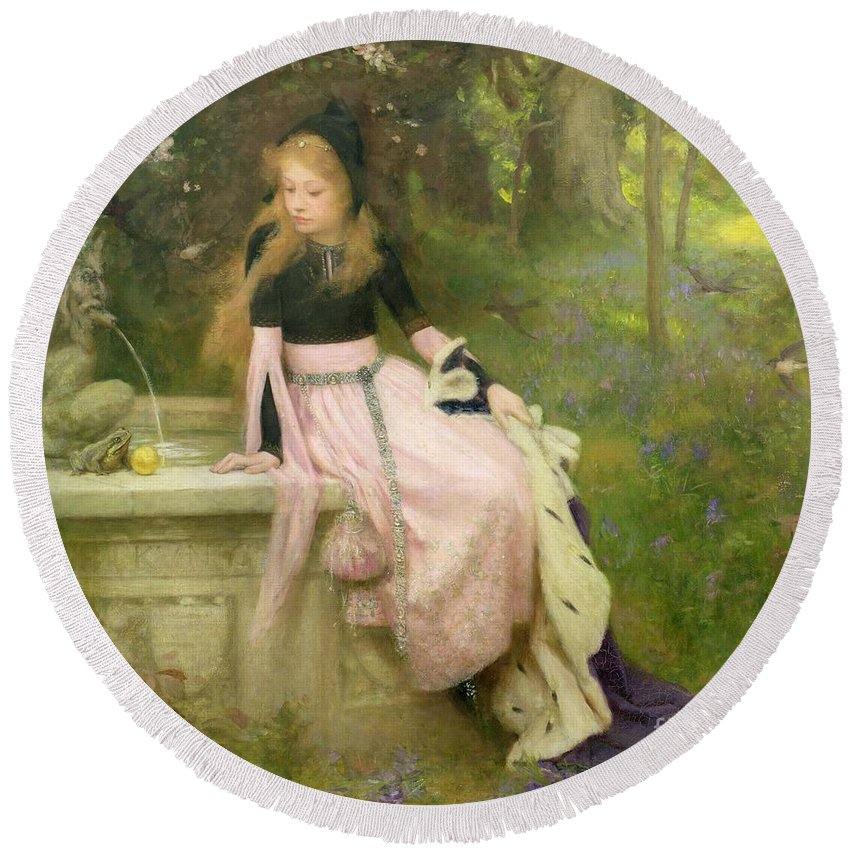 The Round Beach Towel featuring the painting The Princess And The Frog by William Robert Symonds