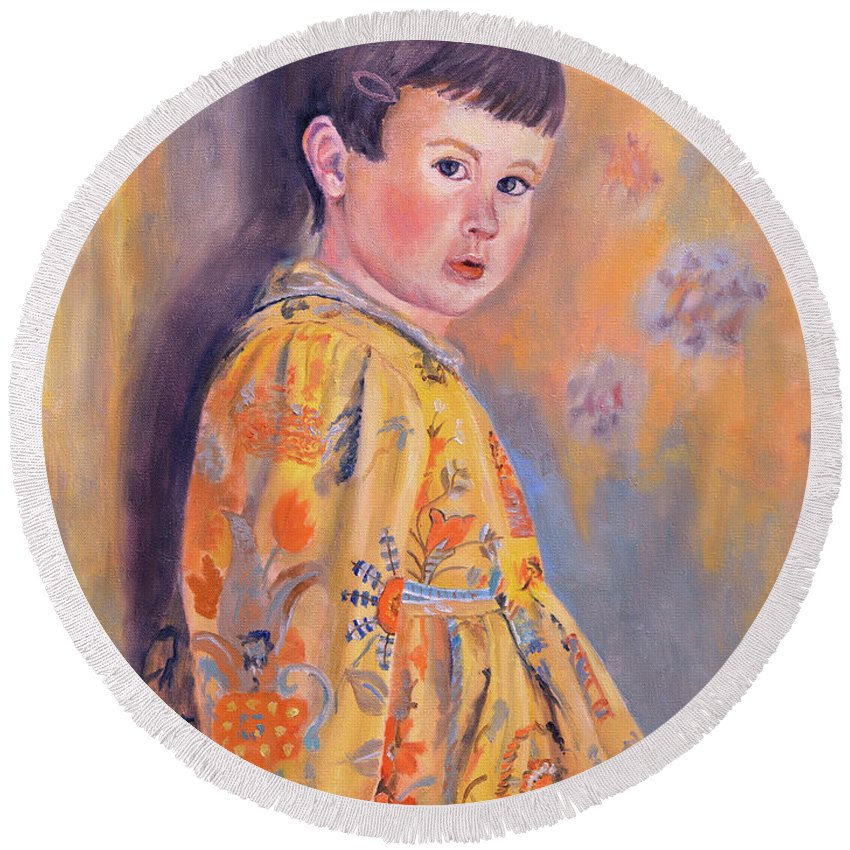 Impressionism Round Beach Towel featuring the painting The Print Dress by Keith Burgess