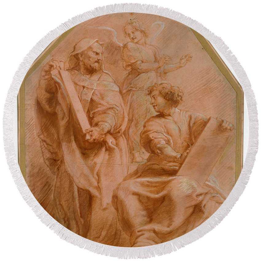 Peter Paul Rubens Round Beach Towel featuring the drawing The Prophets David And Daniel by Peter Paul Rubens