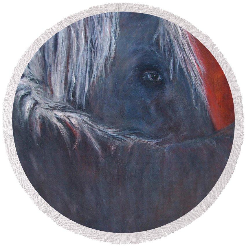 Katt Yanda Original Horse Oil Painting Canvas Protector Black Horse White Mane One Eye Round Beach Towel featuring the painting The Protector by Katt Yanda