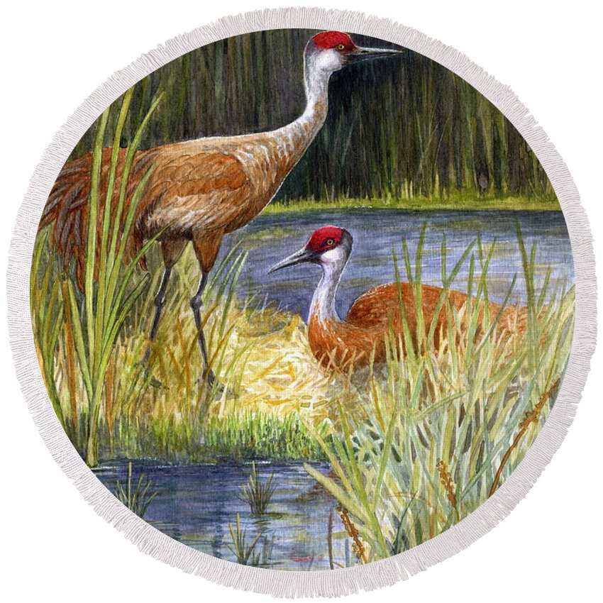 Sandhill Cranes Round Beach Towel featuring the painting The Protector - Sandhill Cranes by Marilyn Smith