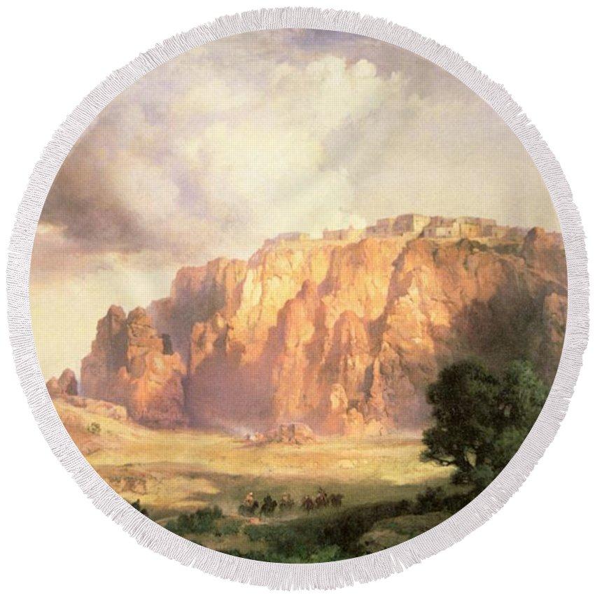The Pueblo Of Acoma Round Beach Towel featuring the painting The Pueblo Of Acoma In New Mexico by Thomas Moran