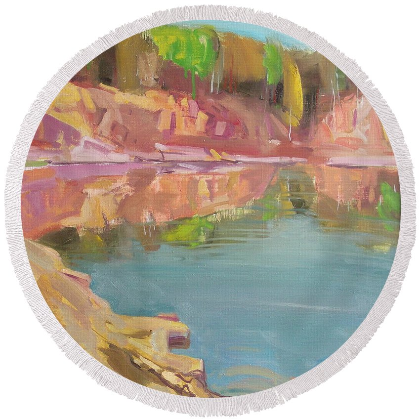 Oil Round Beach Towel featuring the painting The Quarry by Sergey Ignatenko