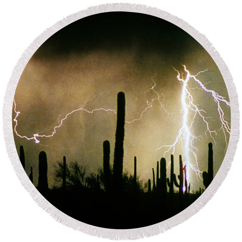 Lightning Round Beach Towel featuring the photograph The Quiet Southwest Desert Lightning Storm by James BO Insogna
