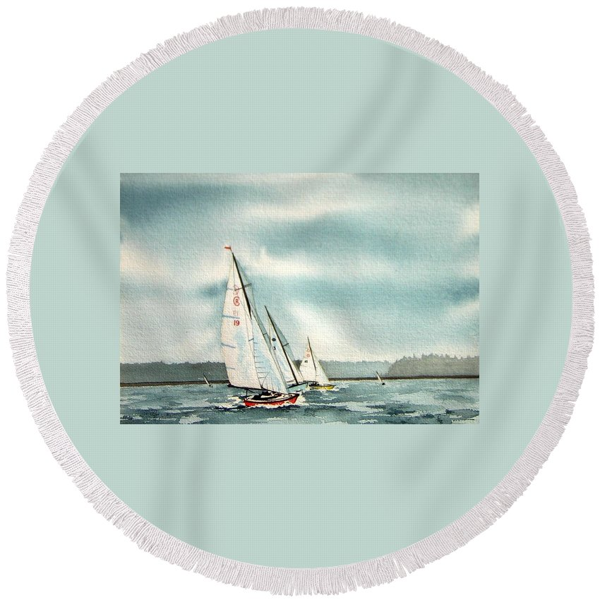 Sailing Round Beach Towel featuring the painting The Race by Gale Cochran-Smith