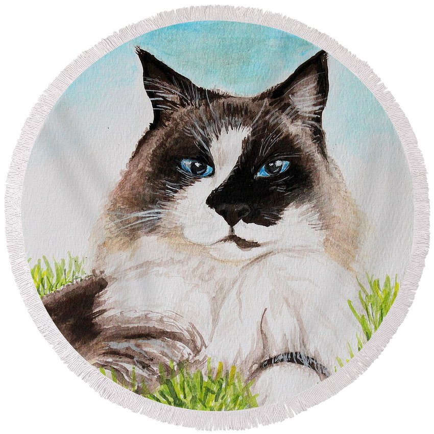 Pet Round Beach Towel featuring the painting The Ragdoll by Elizabeth Robinette Tyndall