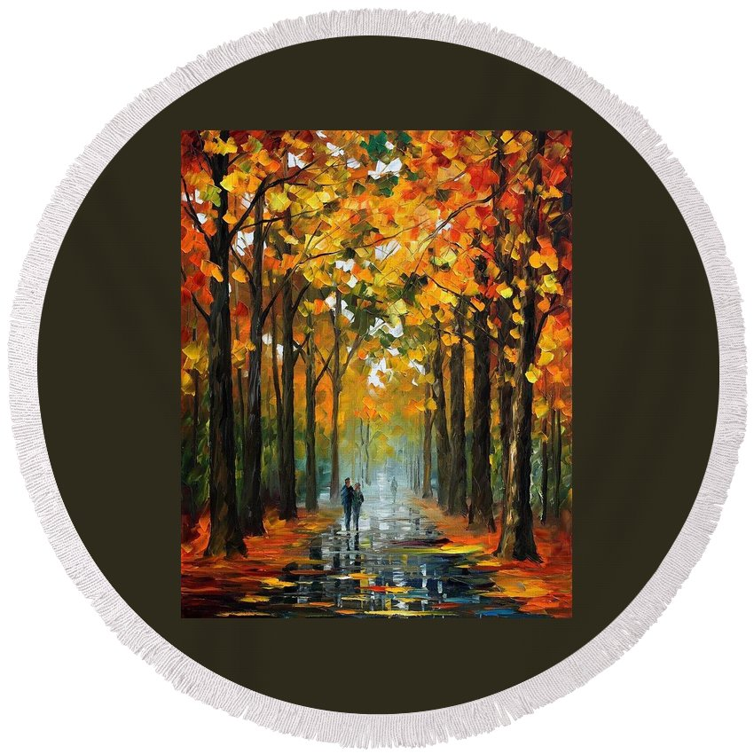 Afremov Round Beach Towel featuring the painting The Rain Is Gone by Leonid Afremov