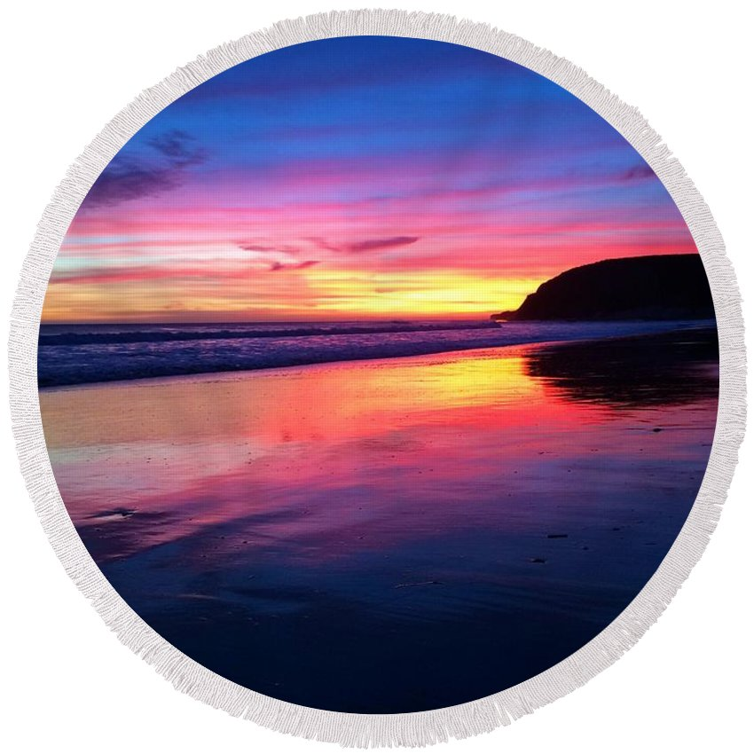 Landscape Round Beach Towel featuring the photograph The Rainbow Blues by JoJo Brown