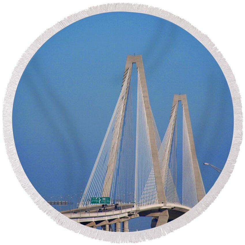 Photography Round Beach Towel featuring the photograph The Ravanel Bridge In Charleston by Susanne Van Hulst