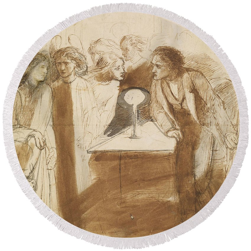 Dante Gabriel Rossetti Round Beach Towel featuring the drawing The Raven - Angel Footfalls by Dante Gabriel Rossetti