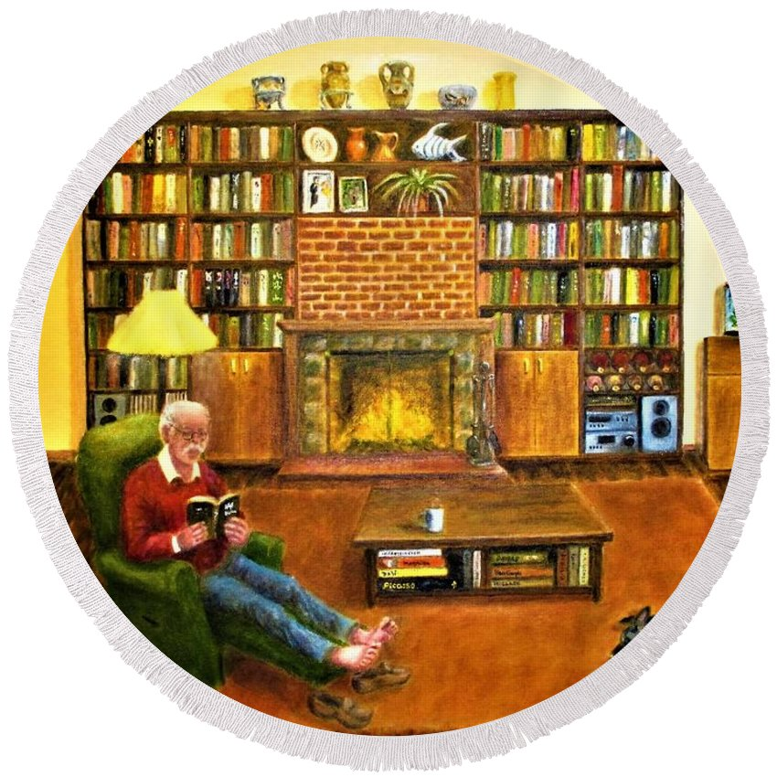 Bookcases Round Beach Towel featuring the painting The Reading Room by Olga Silverman