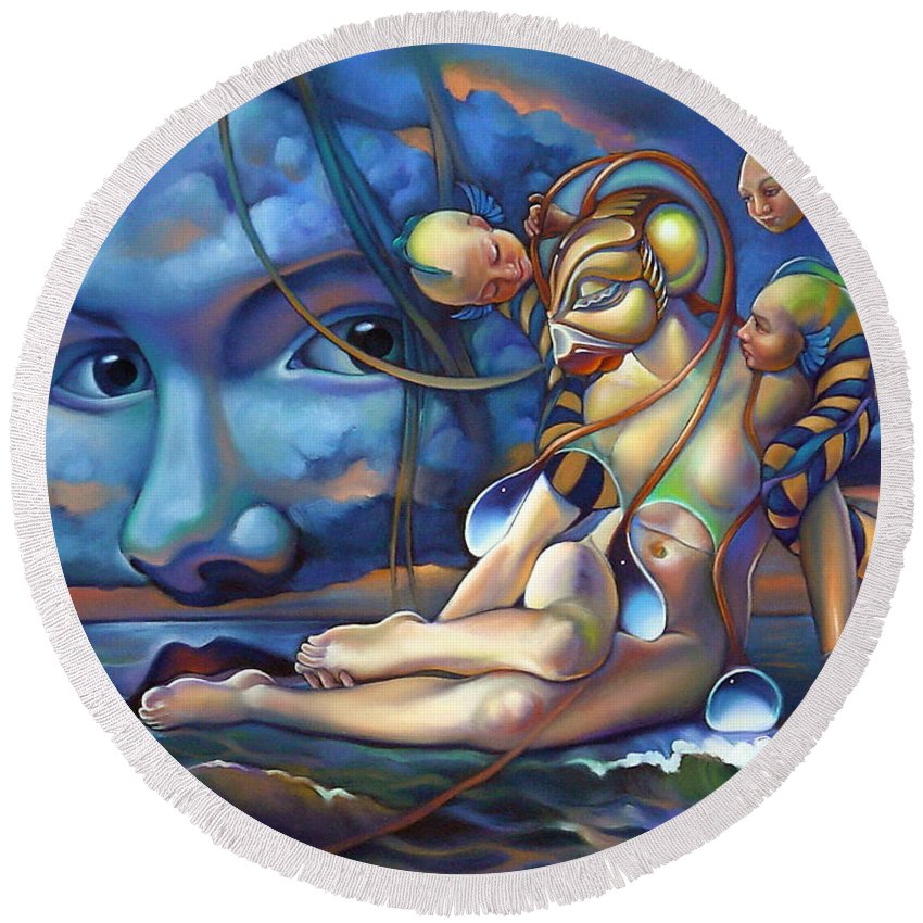 Mermaid Round Beach Towel featuring the painting The Rebirth Of Venus by Patrick Anthony Pierson