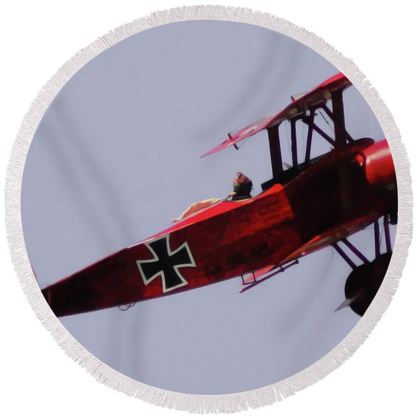 Triplane Round Beach Towel featuring the digital art The Red Baron by DigiArt Diaries by Vicky B Fuller