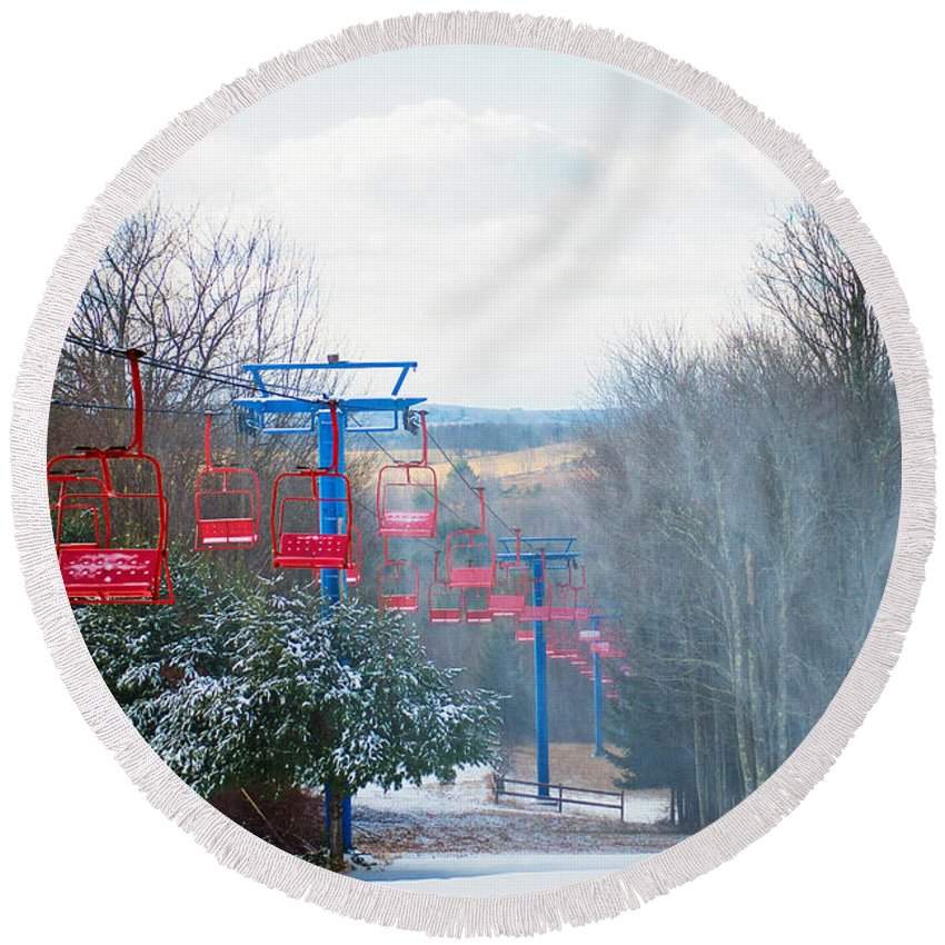Winter Round Beach Towel featuring the photograph The Red Chairlift by Anna Serebryanik