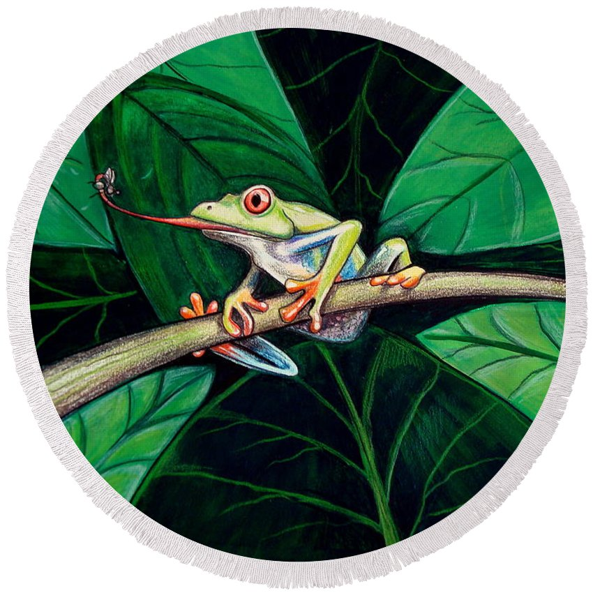 Frog Round Beach Towel featuring the painting The Red Eyed Tree Frog by Elizabeth Robinette Tyndall