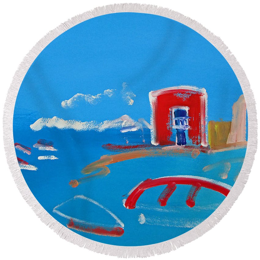 Puerto Round Beach Towel featuring the painting The Red House La Casa Roja by Charles Stuart
