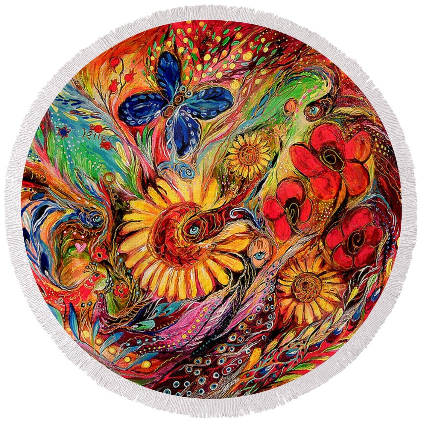 Original Round Beach Towel featuring the painting The Red On Red by Elena Kotliarker