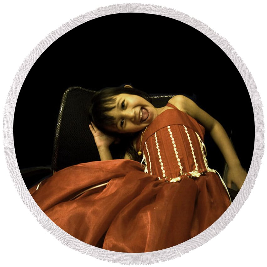 Girl Round Beach Towel featuring the photograph The Red Party Dress by Madeline Ellis