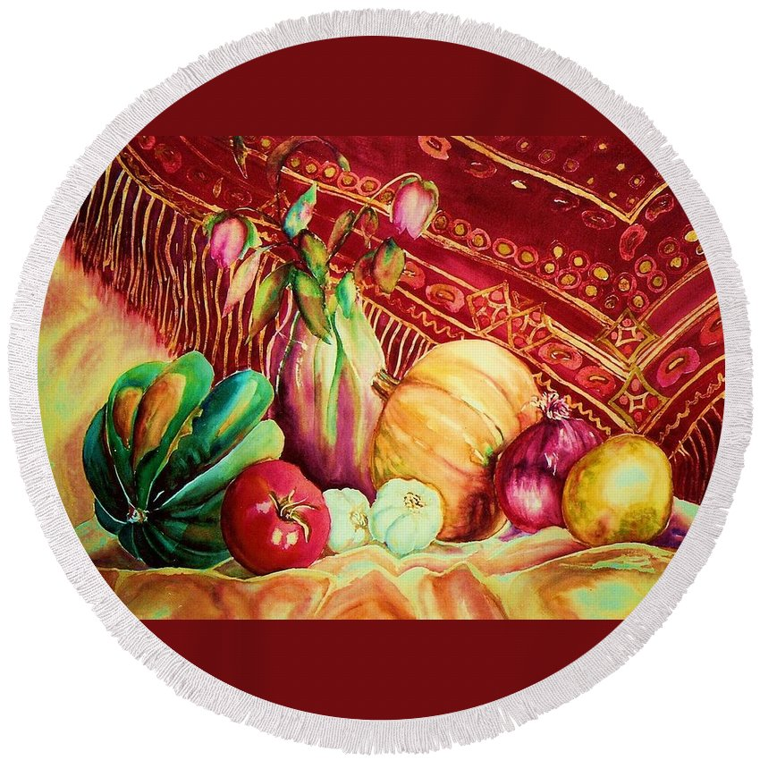 Reds Round Beach Towel featuring the painting The Red Shawl by Carole Spandau