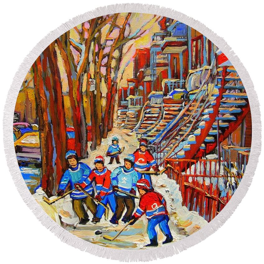 Round Beach Towel featuring the painting The Red Staircase Painting By Montreal Streetscene Artist Carole Spandau by Carole Spandau