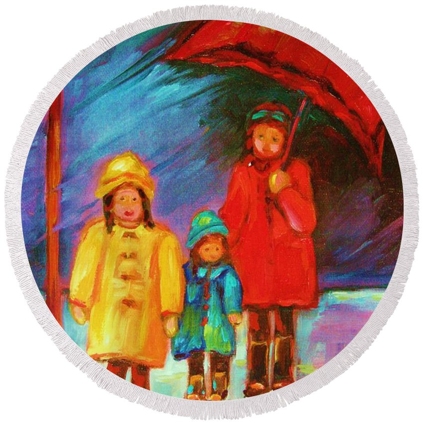 Rainy Day Round Beach Towel featuring the painting The Red Umbrella by Carole Spandau