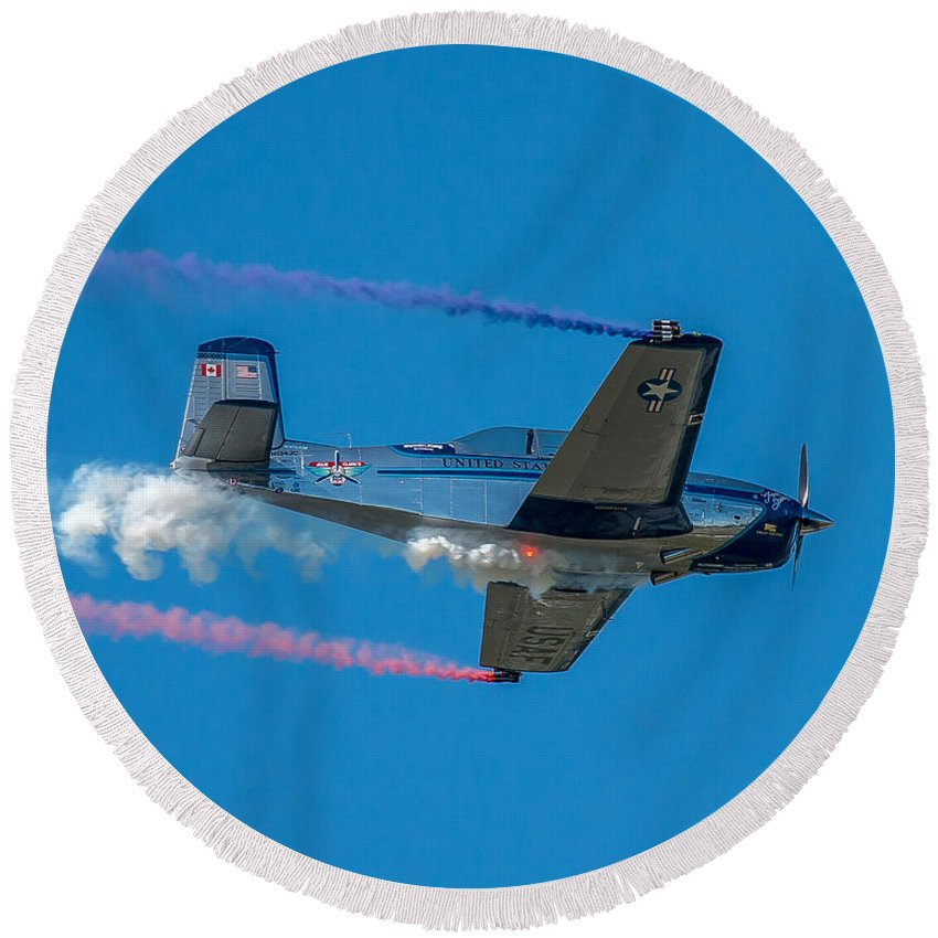 Plane Round Beach Towel featuring the photograph The Red, White And Blue by Stephen Whalen