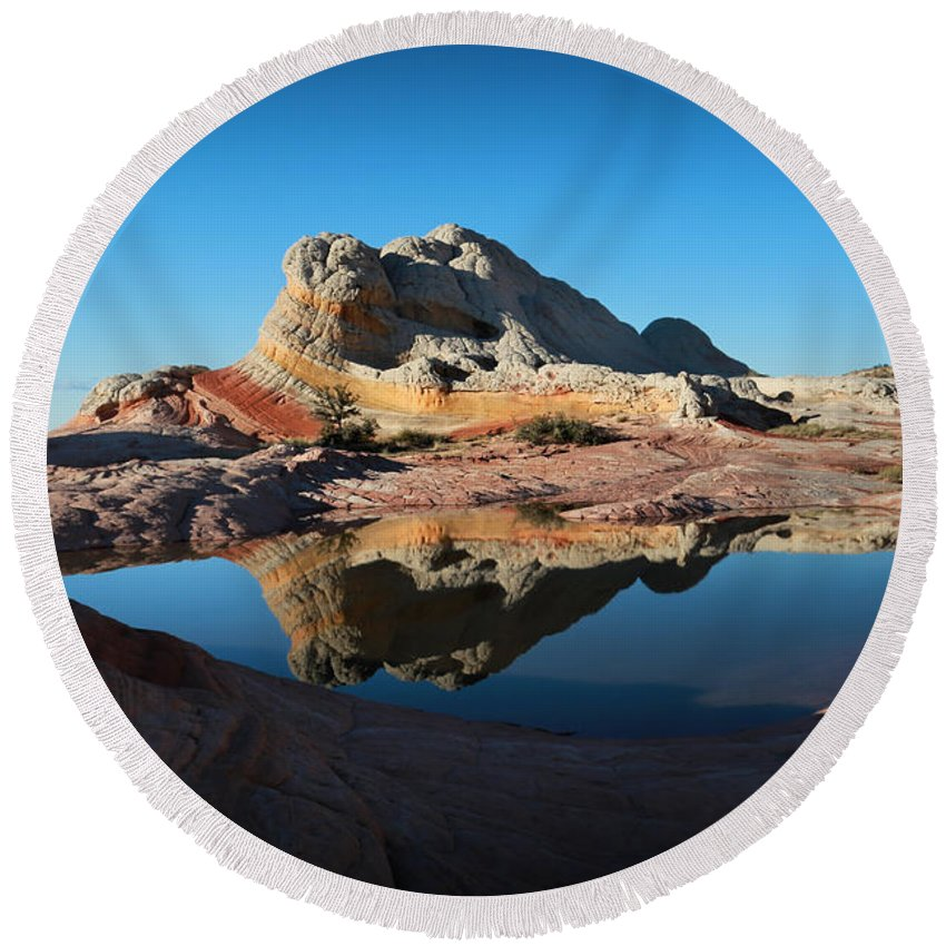 Vermillion Cliffs Round Beach Towel featuring the photograph The Reflecting Pool by Gary Yost