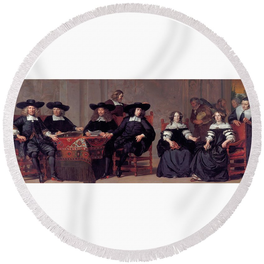 Adriaen Backer Round Beach Towel featuring the painting The Regents Of The Old Men And Women Hospital In Amsterdam by Adriaen Backer