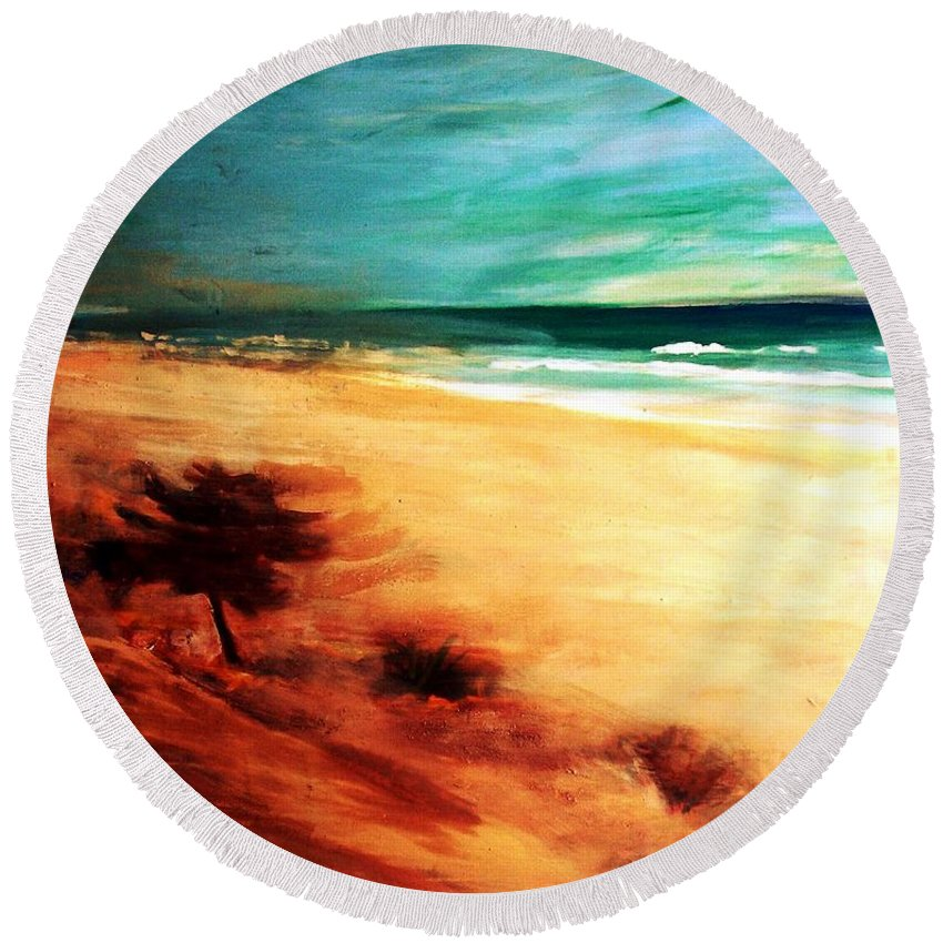 Beaches Round Beach Towel featuring the painting The Remaining Pine by Winsome Gunning