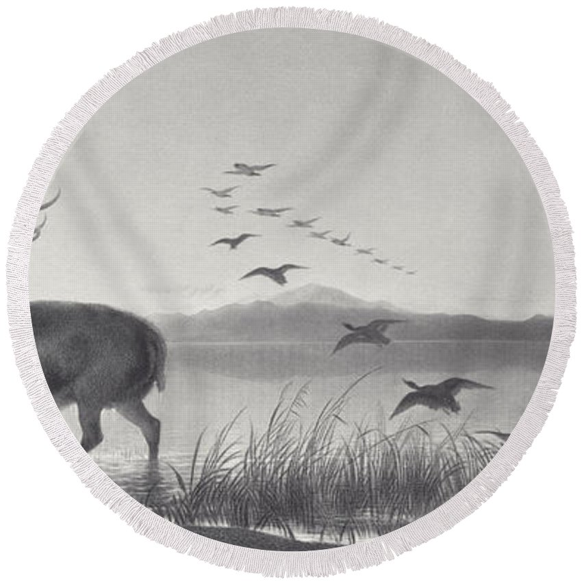 Stag Round Beach Towel featuring the painting The Rescue by Edwin Landseer