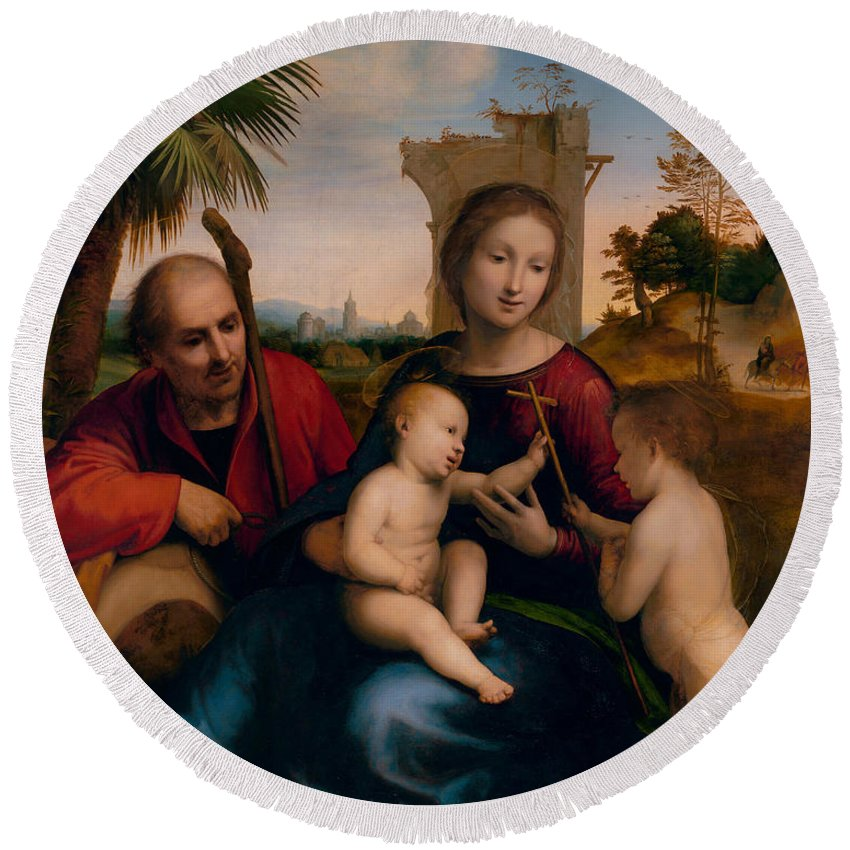 Italian Art Round Beach Towel featuring the painting The Rest On The Flight Into Egypt With St. John The Baptist by Fra Bartolomeo